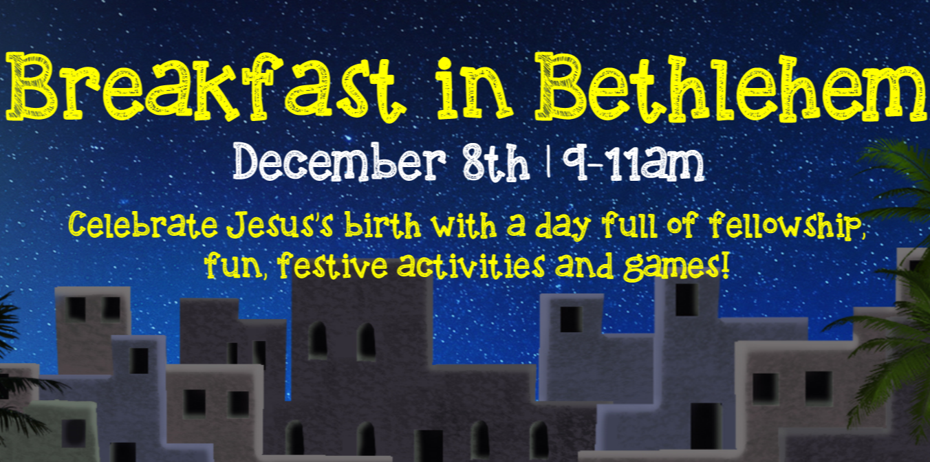Breakfast in Bethlehem is Saturday, December 8 at 9:00am at Faith Lutheran Church in Flower Mound, TX